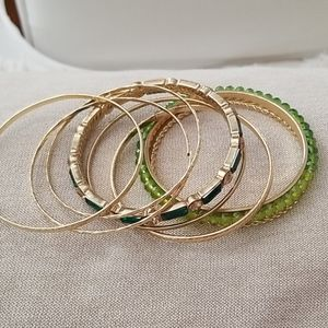 8 gold and green bangle bracelets